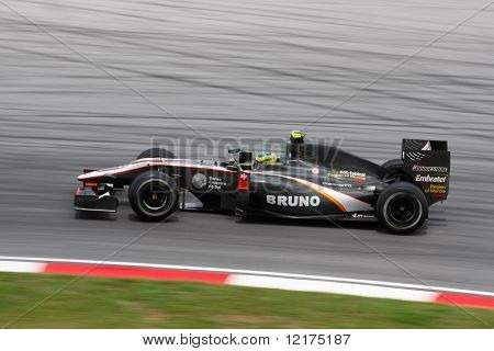 KUALA LUMPUR - APRIL 2: Hispanic Racing Team's Brunno Senna takes to the tracks on practice day at the 2010 Petronas Malaysia F1 Grand-Prix on April 2, 2010 in Sepang, Malaysia.
