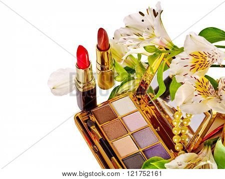 Still life decorative cosmetics and flower. Isolated. Holiday cosmetics.