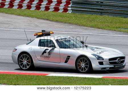 KUALA LUMPUR - APRIL 3: Formula 1 safety car, a Mercedes Benz SLS AMG takes to the tracks during the 2010 Petronas Malaysia Grand-Prix on April 3, 2010 in Sepang International Circuit, Malaysia.