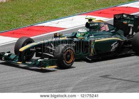 KUALA LUMPUR - APRIL 3: Lotus' driver Heiki Kovalainen sees action on practice day at the 2010 Petronas Malaysia Grand-Prix on April 3, 2010 in Sepang International Circuit, Malaysia.