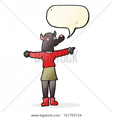 cartoon pointing werewolf woman with speech bubble
