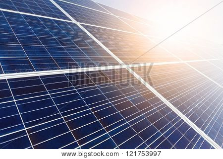 Solar panel with sun beam