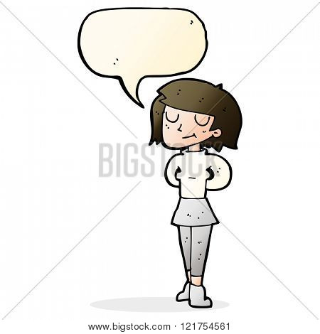 cartoon pleased woman with speech bubble