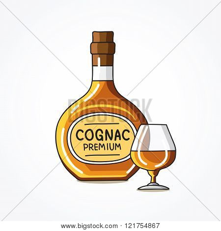 Bottle And A Glass Of Cognac