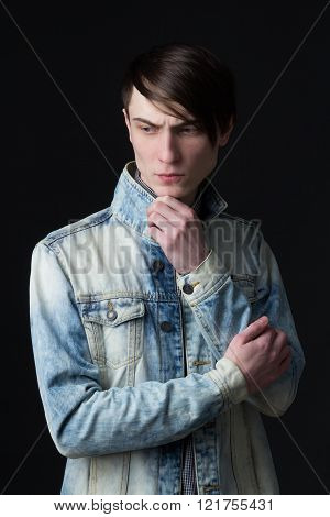 Portrait Of A Young Man In A Denim Jacket