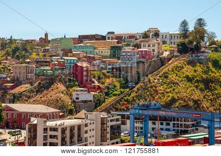 Valparaiso, Chile - December 3, 2012: Two cars of Funicular in Valparaiso, Chile against background of colorful houses in Cerro Artilleria. From Plaza Aduana, Ascensor Artilleria extends for 175 meters with a 30-degree gradient. One of the most popular to