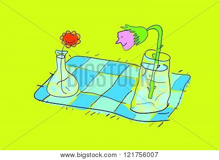 Flowers on a picnic blanket