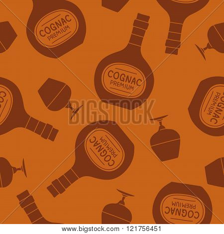 Seamless Pattern Of Brandy Bottles And Glasses