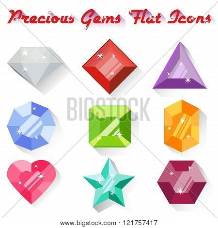 Set Of Colorful Presious Gem Icons In Flat Style