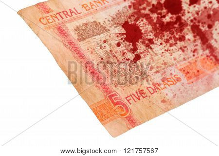 5 Gambian Dalasi Bank Note, Bloody