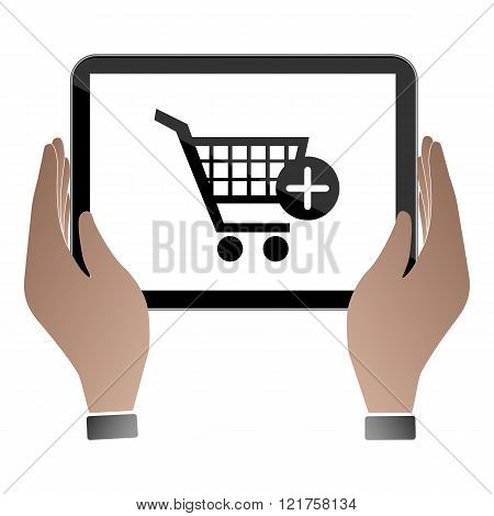Hands hold and touch tablet PC