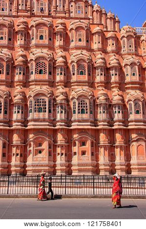 Jaipur, India - February 27: Unidentified People Walk Near Hawa Mahal On February 27, 2011  In Jaipu