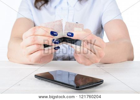 Girl Tearing A Credit Card Over The Phone