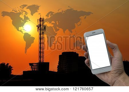 Large Antenna With The Sunset, Holding A Smart Phone