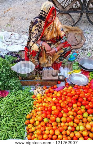 Jaipur, India - November 15: Unidentified Woman Sells Vegetables At The Street Market On November 15