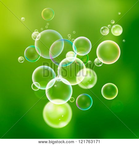 Set colorful water bubbles in vector. Isolated  soap bubbles col