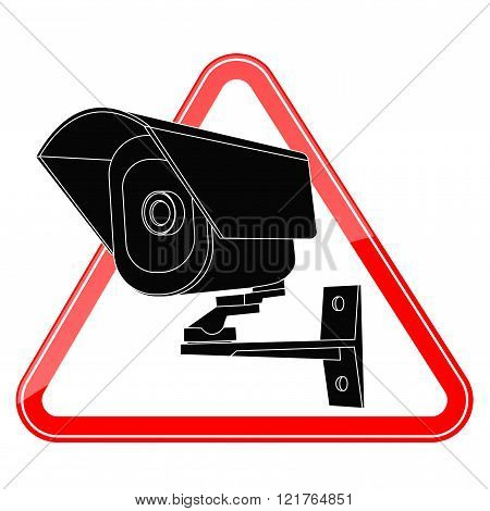 Video surveillance CCTV security camera icon in red triangle
