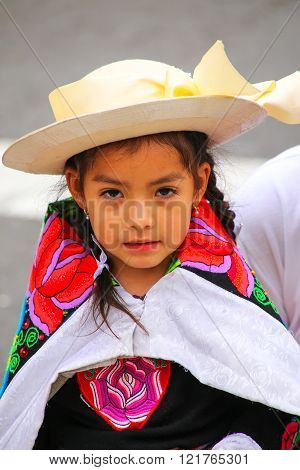 LIMA PERU - JANUARY 31: Unidentified girl takes part in Festival of the Virgin de la Candelaria on January 31 2015 in Lima Peru. The core of the festival is dancing and music performed by different dance schools.