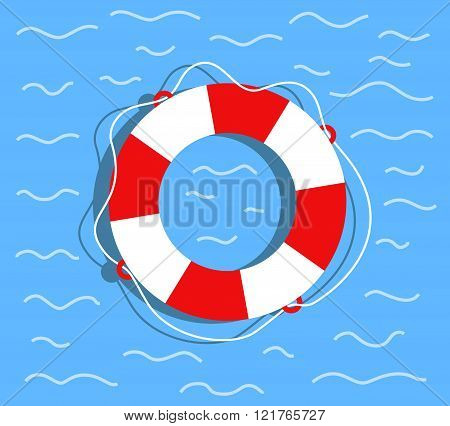 Lifebuoy on the water. Flat style vector illustration