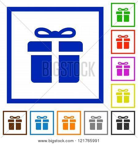 Gift Box Framed Flat Icons