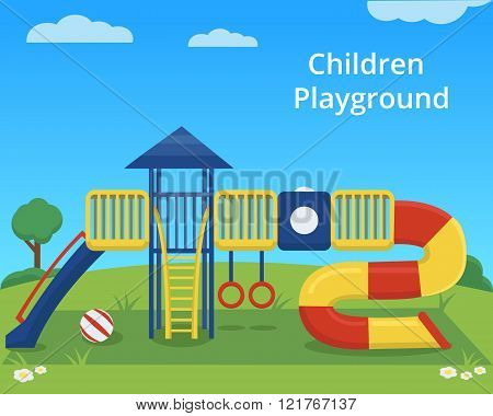 Vector children playground on colorful background. Kids Park. Outdoor children activity background.