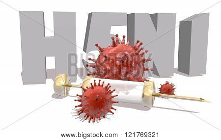 H5N1 Desease, Abstract Virus Models And Syringe