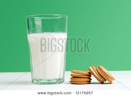 Cream filled shortcake and a glass of milk