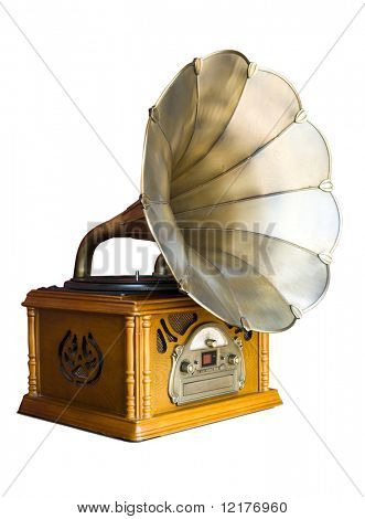 Photo of retro gramophone isolated over white background