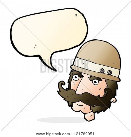 cartoon victorian big game hunter with speech bubble