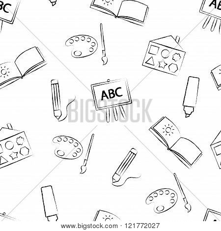 Seamless pattern with black crayon children's drawings on white background. Hand-drawn style. Seamle