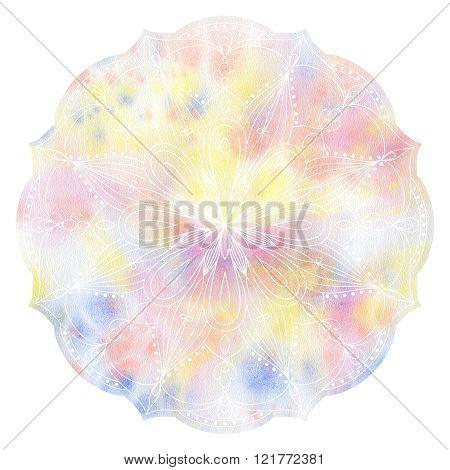Mandala colorful watercolor.