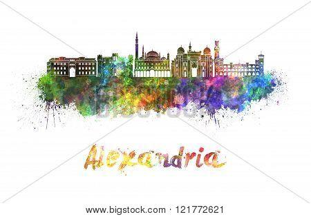 Alexandria Skyline In Watercolor