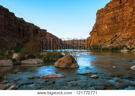 Sunset On The Colorado River Near The Cathedral Wash, Arizona, Usa
