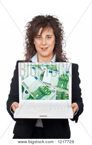 Business Woman Showing A Laptop