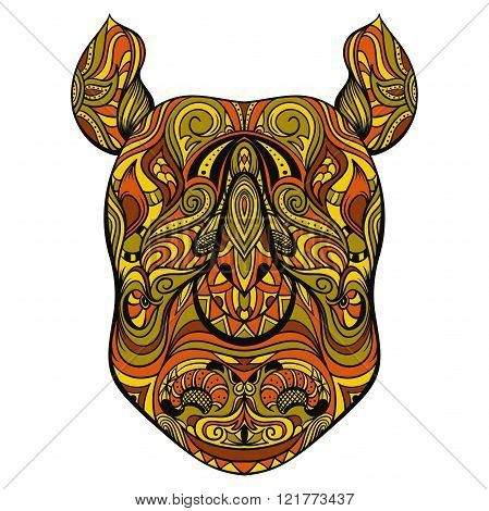 Rhino head with ornament. Tattoo art. Retro banner, card, scrap booking. t-shirt, bag, postcard, poster.Highly detailed vintage colorful hand drawn vector illustration