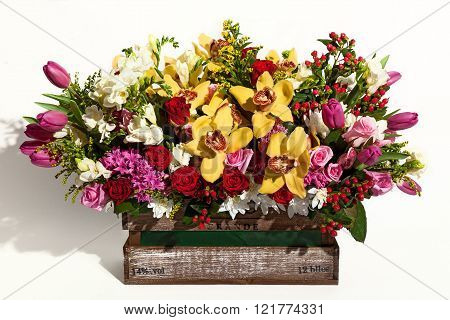 Flower composition of different colors, a bouquet of flowers for a gift
