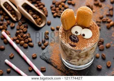 Easter bunny cake tiramisu dessert for children. Funny traditional Italian dessert serving creative idea holiday sweet food for kids selective focuse