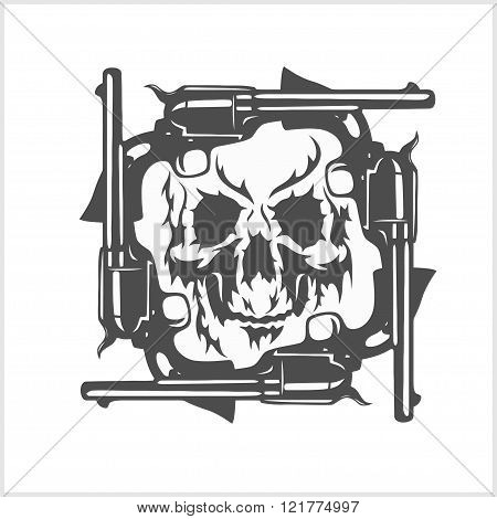Gangster skull and frame of pistols.