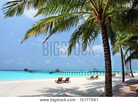 Panorama of tropical beach, travel vacation background