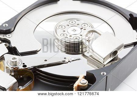 Hard disk in an open case, closeup