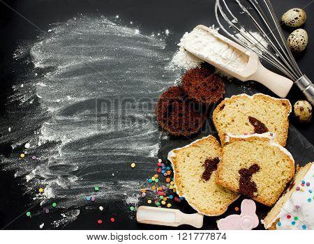 Easter Bunny Cake Preparing In Kitchen