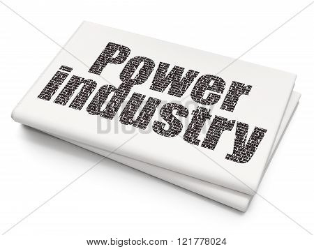 Industry concept: Power Industry on Blank Newspaper background