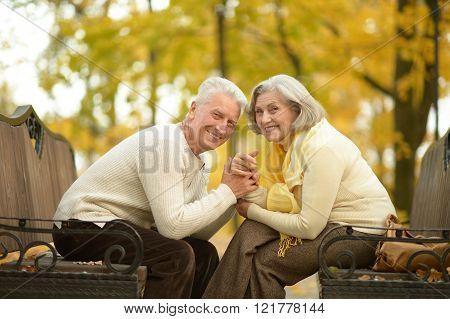 Happy Mature couple in  autumn