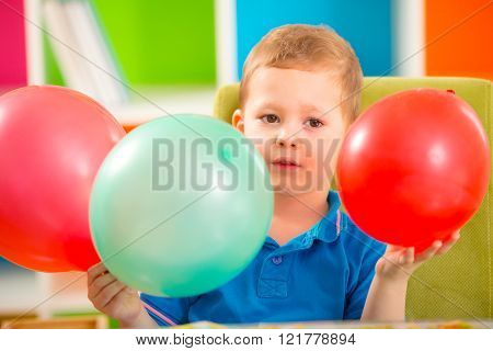Joyful Kid Boy On Birthday Party