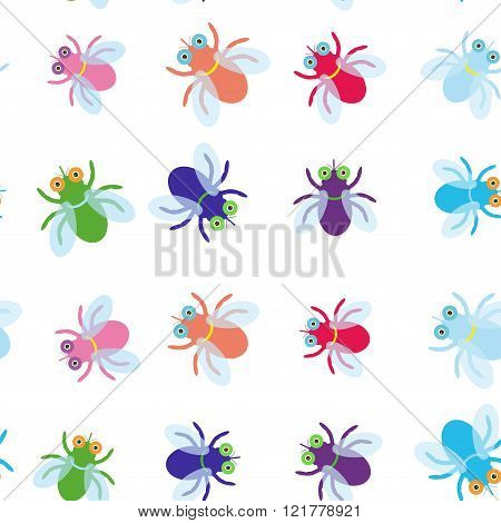 Seamless pattern Funny fly colorful red green blue violet pink with transparent wings on white backg