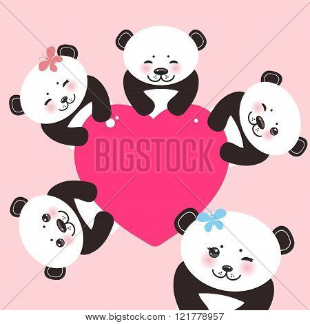 Kawaii funny panda white muzzle with pink cheeks and big black eyes. Card design with a funny animal