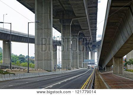 Concrete bridge pillars under view