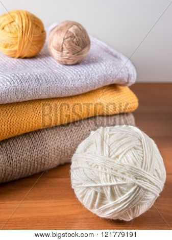 yarn on background of knitwear