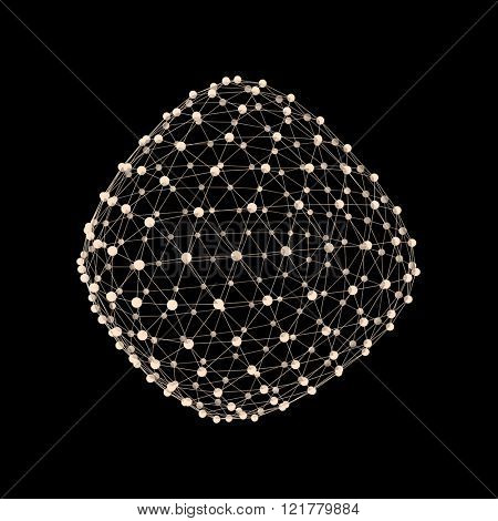 Wireframe Object with Connected Lines and Dots. Abstract 3D Connection Structure. Geometric Shape for Design. Lattice Geometric Element, Emblem and Icon. Glowing Grid. Molecular grid. Technology Style