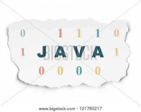 Database concept: Java on Torn Paper background